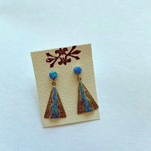 Sterling silver Created opal earrings